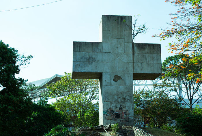Central America Concrete Costa Rica Cross Faith Green Tint Imposing Massive Monument San Jose Sculpture Stadium Towering