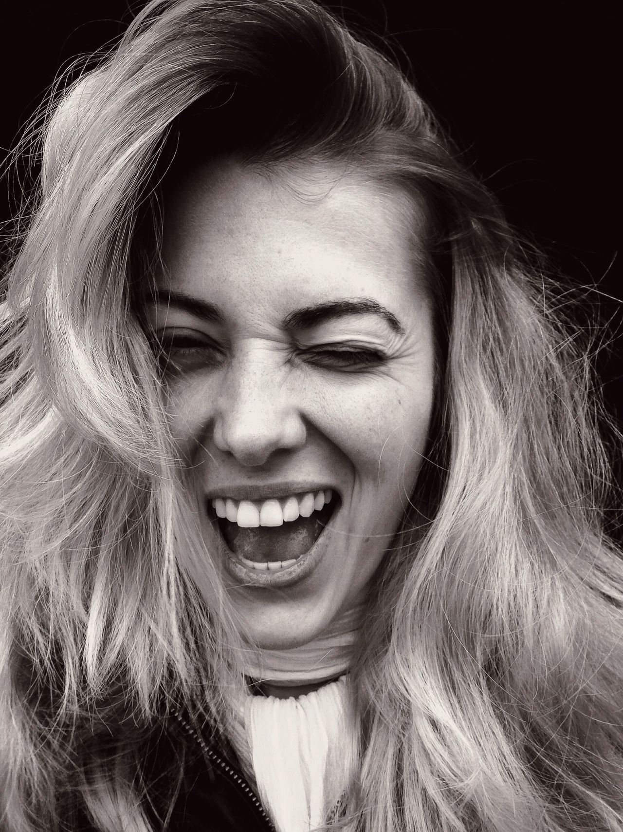 Beautiful stock photos of face, Black Background, Blonde Hair, Cheerful, Happiness