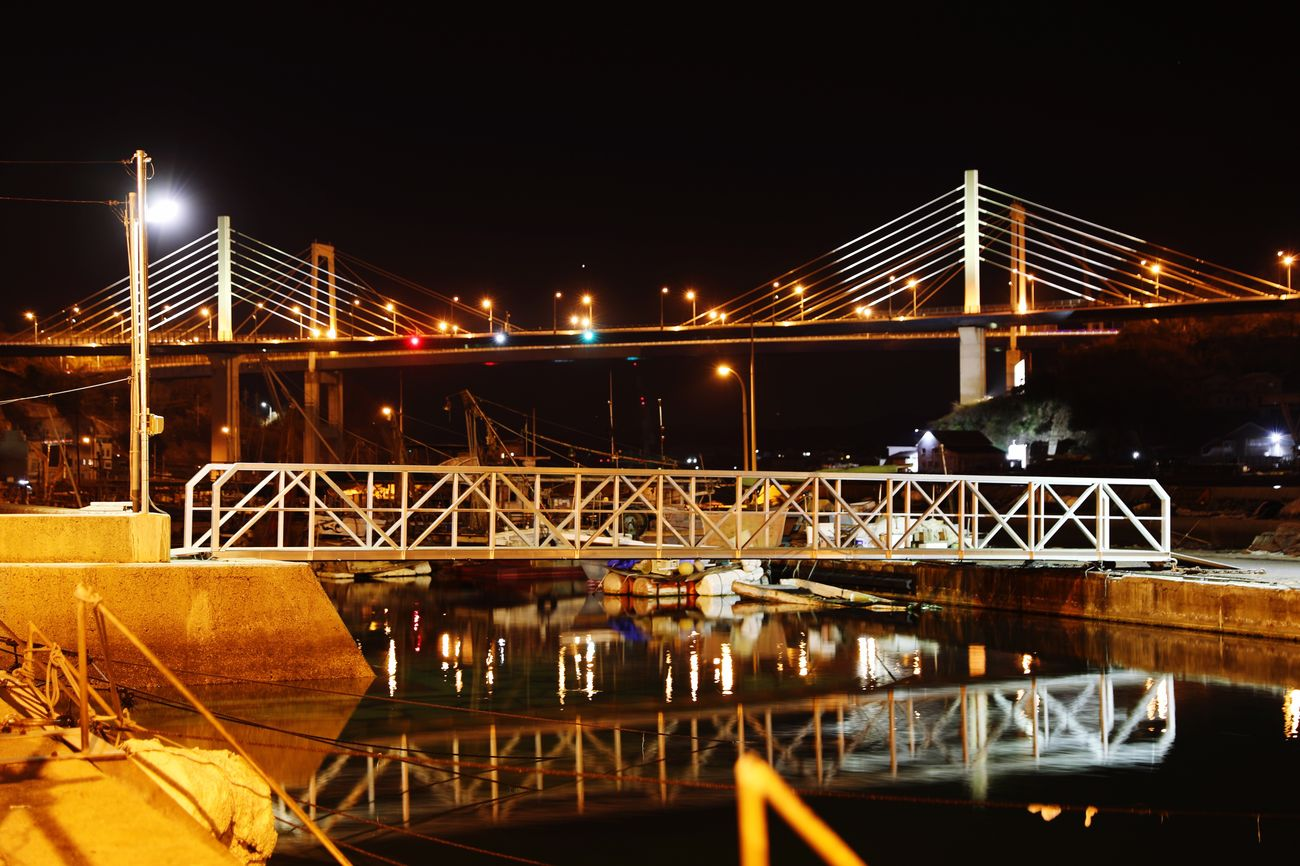 Bridge - Man Made Structure Illuminated Transportation Architecture Connection Built Structure Night Water City Engineering Travel Suspension Bridge Sky No People Building Exterior Outdoors Low Angle View Cityscape Canon