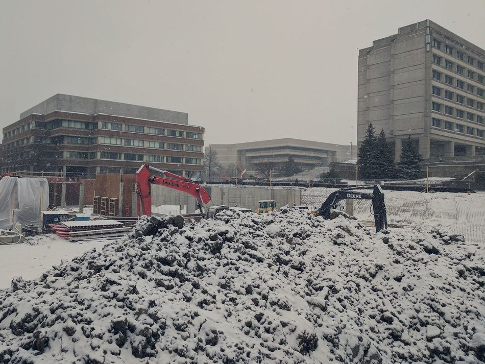 Construction Snowing ❄ Street Photography Feel Great  Sunday Afternoon