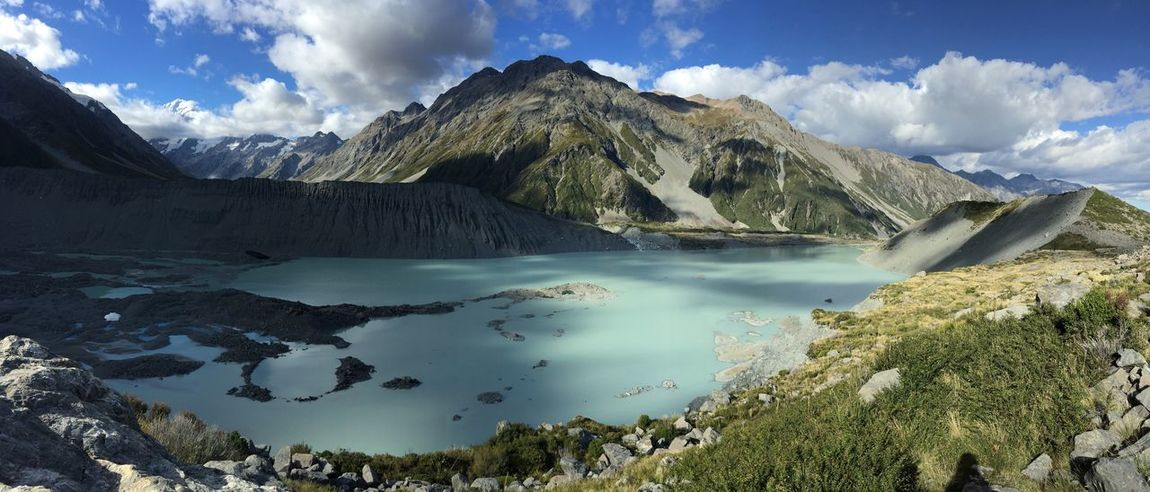 Mountain Nature Beauty In Nature Scenics The Purist (no Edit, No Filter) Tranquil Scene Mountain Range Water Lake Tranquility Landscape No People Day Outdoors Glacier Mount Cook New Zealand Lake Kea Point Panorama Panoramic Magic Perspectives On Nature Magical Travel