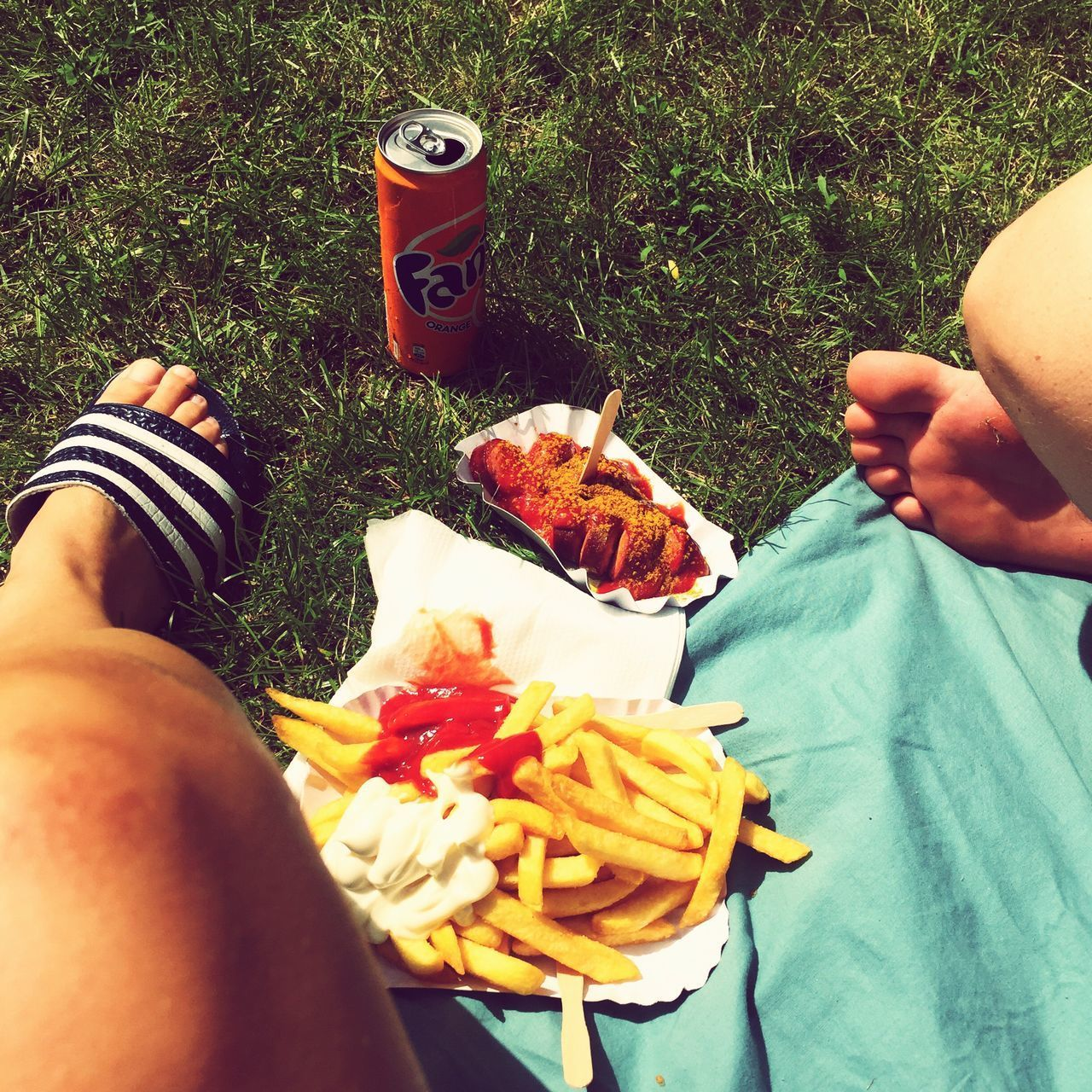 Real People Food And Drink Food Human Body Part Human Leg High Angle View Freshness One Person Men Human Hand Low Section Leisure Activity Day Outdoors Lifestyles Ready-to-eat Close-up People Pommes Currywurst Green Grass Fanta Quality Time