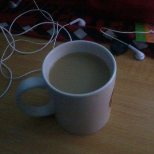 Drinking a big cup of coffee during cold rainy night in my cold room at 16°C Cofferlover