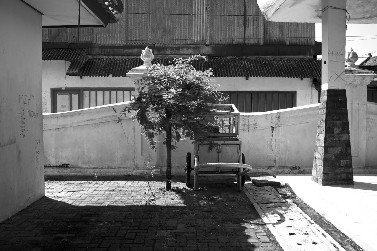 Architecture B&w Street Photography Banal Black And White Building Exterior Built Structure Cart By A Tree City City Street INDONESIA Indonesia_allshots Monochrome Mundane New Topographers New Topographics No People Outdoors Still Life Streetphotography Urban Landscape Yogyakarta Yogyakarta, Indonesia The Street Photographer - 2017 EyeEm Awards Fine Art Photography