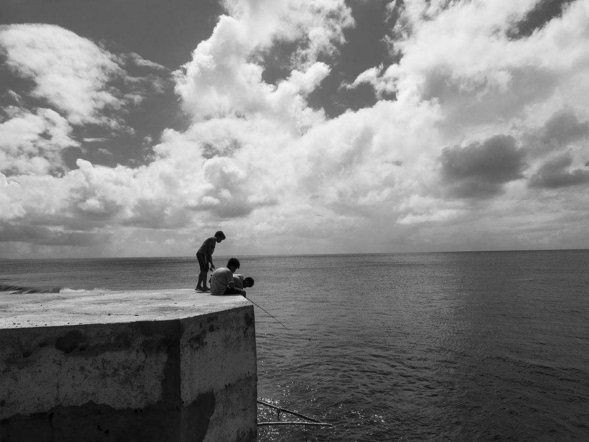 Beauty In Nature Black And White Fish Port Fishing Horizon Over Water Nature Outdoors People Scenics Sea Water