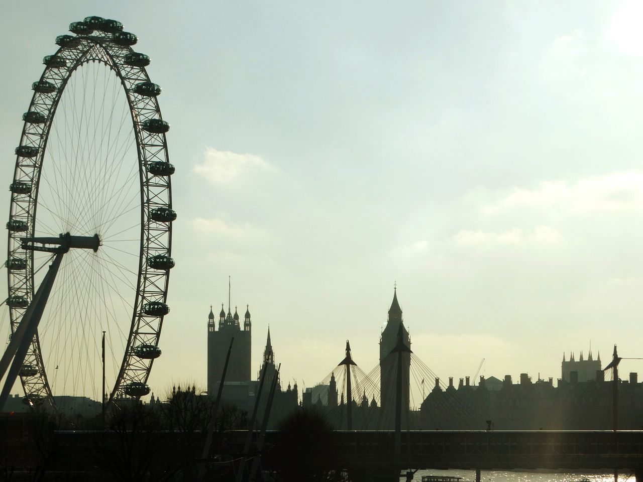 City Travel Destinations Ferris Wheel Cultures Sky Cloud - Sky Outdoors Bridge - Man Made Structure No People London Westminster London Eye Clock Tower Cityscape Fame Day