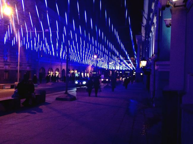 Street Moscow Russia Lamps Blue Evening