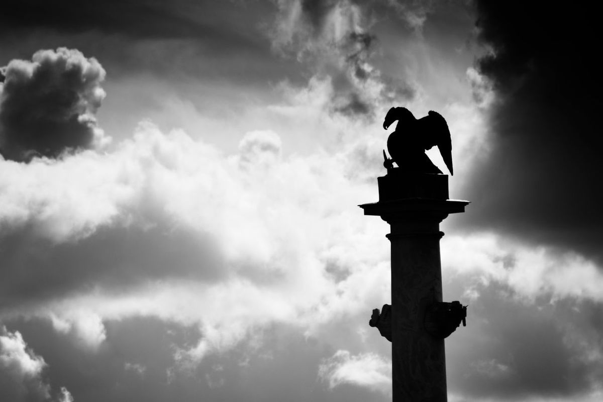 Eagle Drama Black And White Clouds D Eag Katharinen Palast Russia Saint Petersburg Silhouette Statues