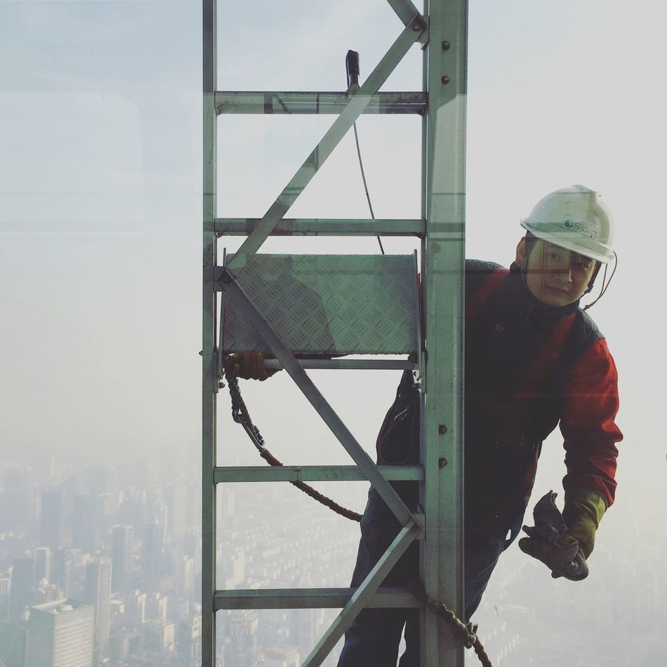 One Person Headwear Helmet Hardhat  Outdoors Full Length Real People Industry Portrait Manual Worker Day Men Sky People One Man Only Adult Windows Cleaner Finding New Frontiers