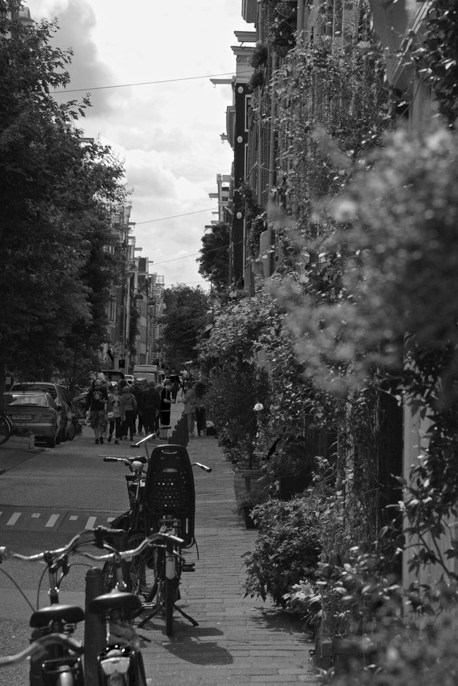 Road Bicycle Street Person Cloud - Sky Day Streetphotography Amsterdam Jordaan Blackandwhite Tranquil Scene Travel Photography Building Exterior City Life Alley Picturesque Atmospheric