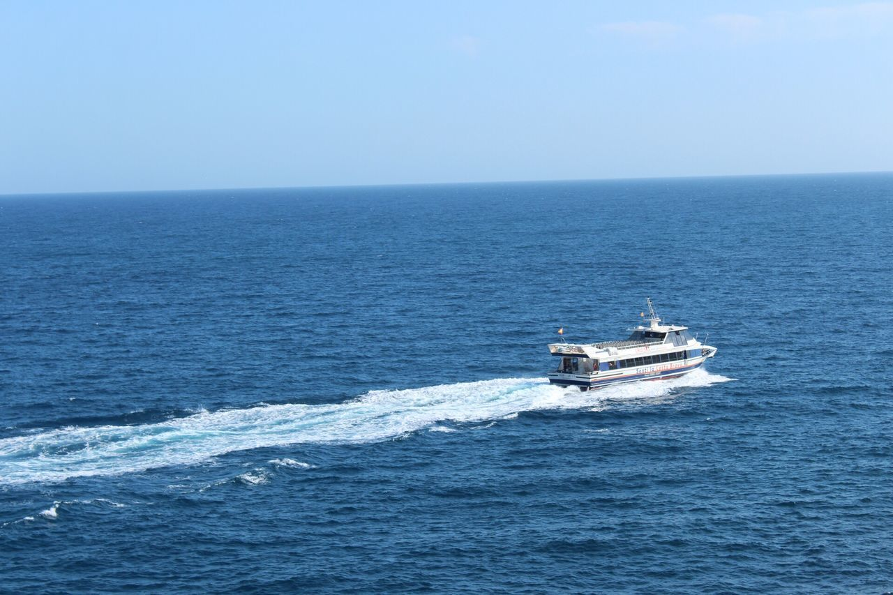 Sea Horizon Over Water Nautical Vessel Water Transportation Nature Wake - Water Scenics Mode Of Transport Day Tranquil Scene Beauty In Nature Clear Sky Motion Outdoors No People Sailing Sky Costa Brava Lloret De Mar Gironamenamora Let's Go. Together.