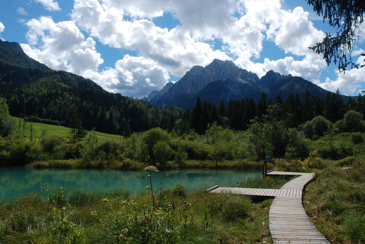 Alps Blue Lake Clouds Julian Alps Kranjska Gora Lake Landscape Mountain Mountains Outdoors Slovenia Tranquil Scene Travel Photography Traveling Zelenci Miles Away Lost In The Landscape Perspectives On Nature