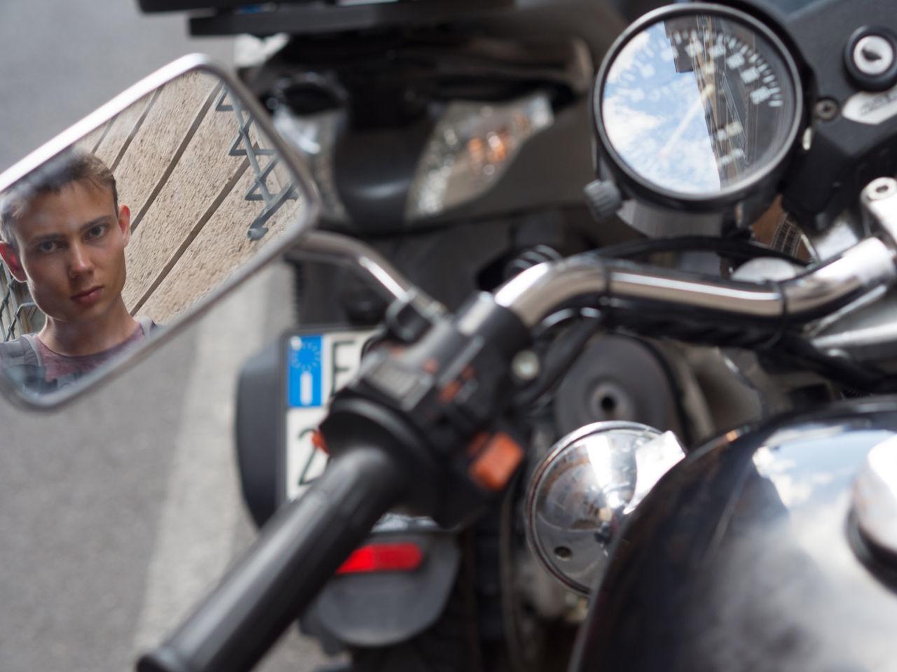 motorcyclist without helmet Biker Danger Man Mirror Motorcycle Motorcyclist No Helmet No Motorcycle Helmet Personal Perspective Without Helmet Without Motorcycle Helmet