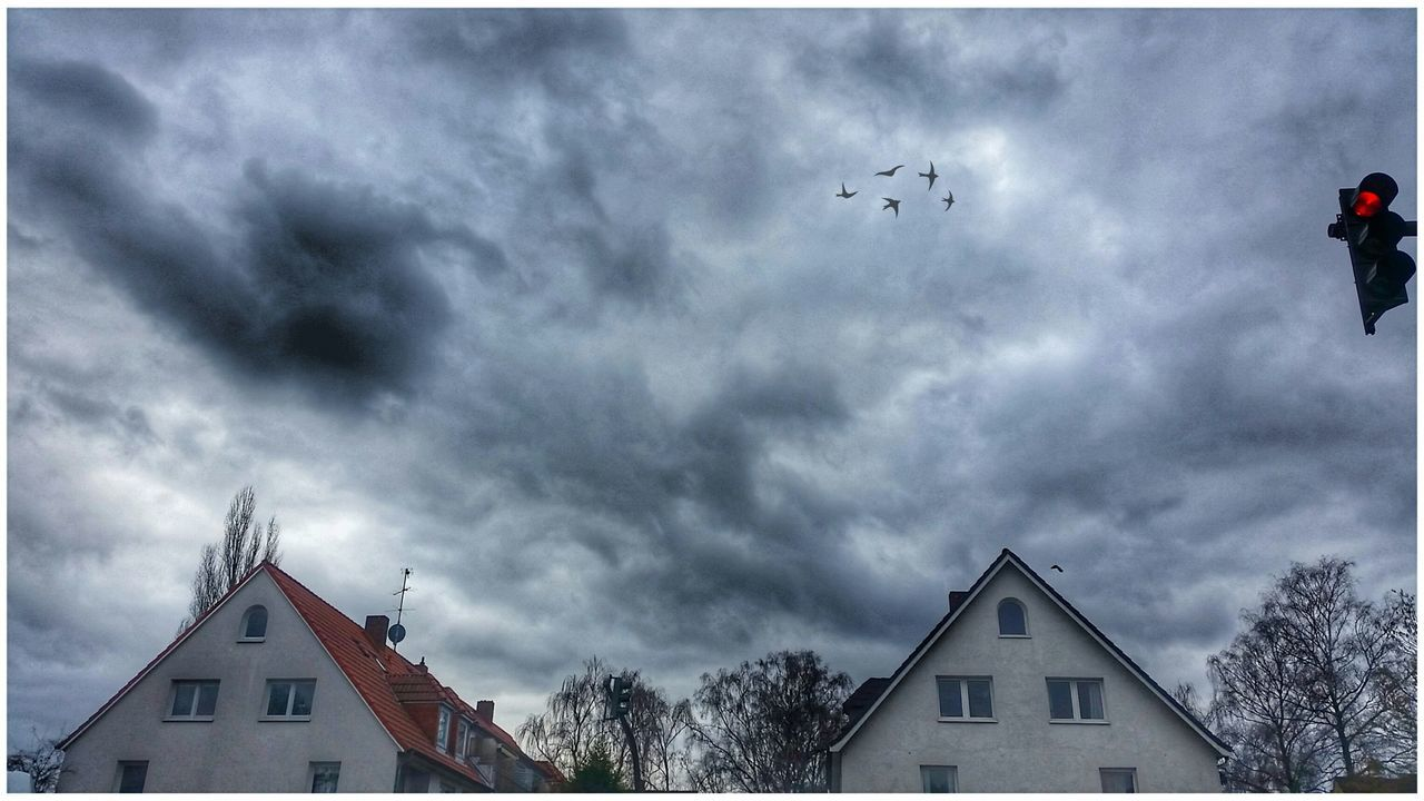 Dramatic Sky Cloudy Sky Houses Trees Street Light Streetphotography Outdoor Photography