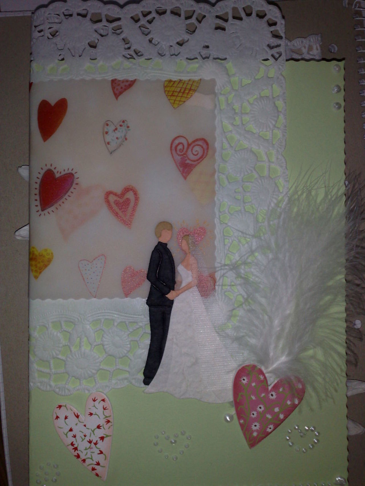 Congratulations Feather  Heart Indoors  Selfmade Standing Wedding Card Wedding Couple