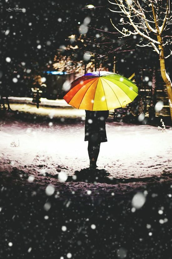 Umbrella Street Weather Outdoors Beauty In Nature Frozen Idilic Scene Snow Nature Winter Cold Temperature Night Photography Colors Snowing Night Snowing