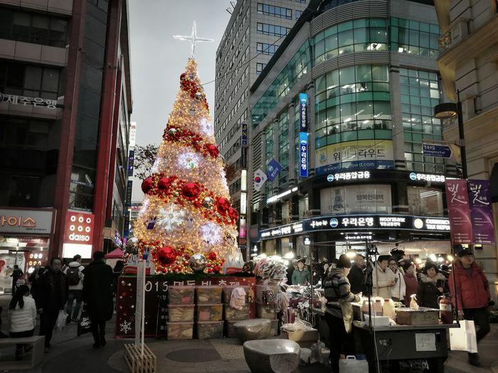 Merry X'mas!! MerryChristmas Christmas Xmas Tree Xmas Lights  Seoul MyeongDong Outdoors Miles Away