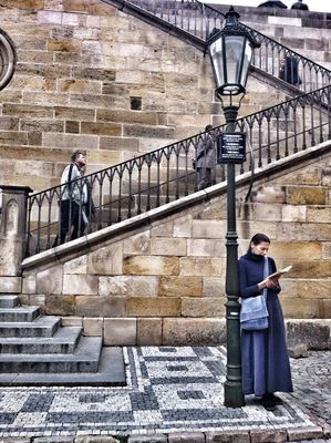 People watching in Prague by Caroline Killeen