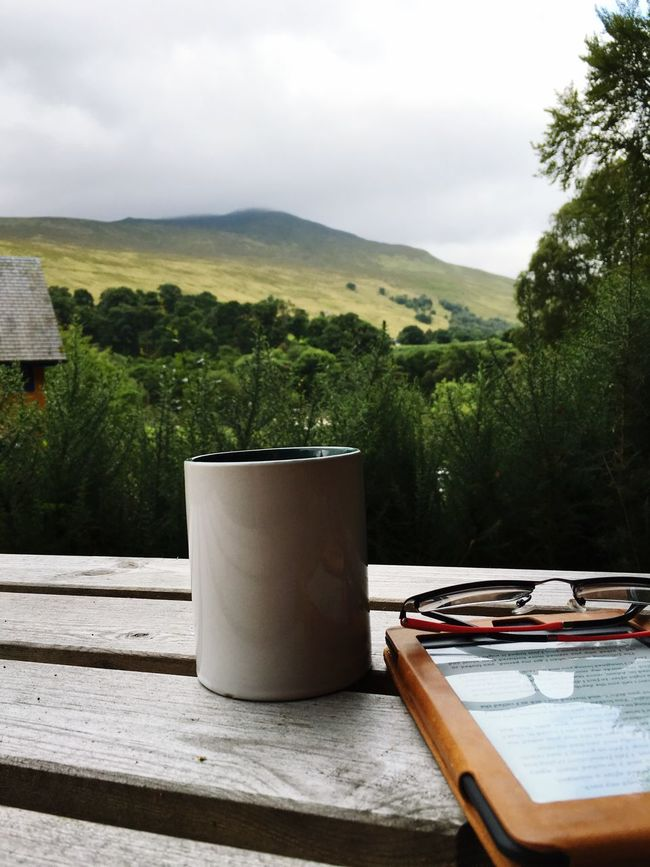 Breakfast on holiday - Ben Nevis in the background 😀. To all who follow me, I have no internet or signal, so no posts for a while. Scottish Highlands Ben Nevis