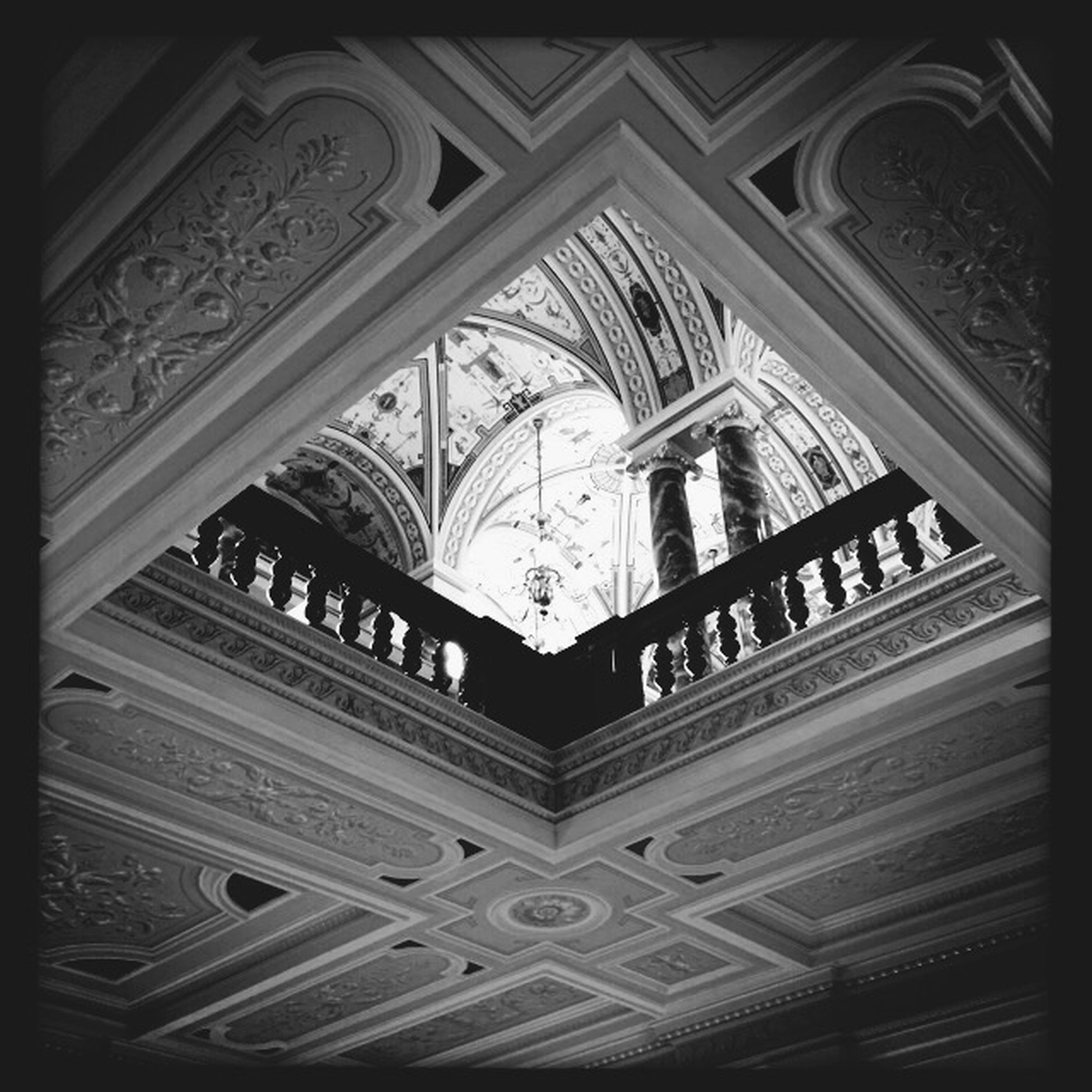 architecture, built structure, low angle view, indoors, place of worship, religion, church, spirituality, building exterior, history, ornate, transfer print, ceiling, arch, old, architectural feature, art and craft, window