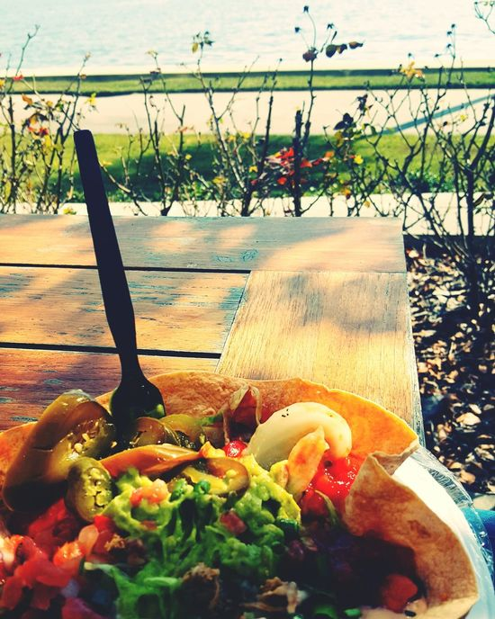Taco salad by the river. Love my hospital. Tacosalad Lunchtime Lunchtime View Taco