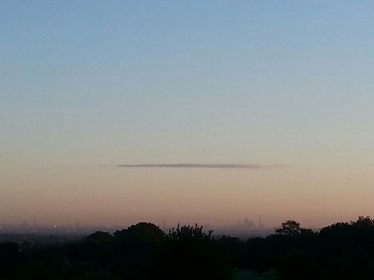 Dawn from Epsom Downs view of London Town