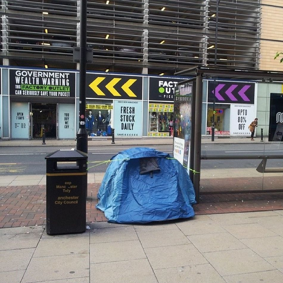 A practical Solution to Homwlessness Tent Camping Manchester LondonRoad