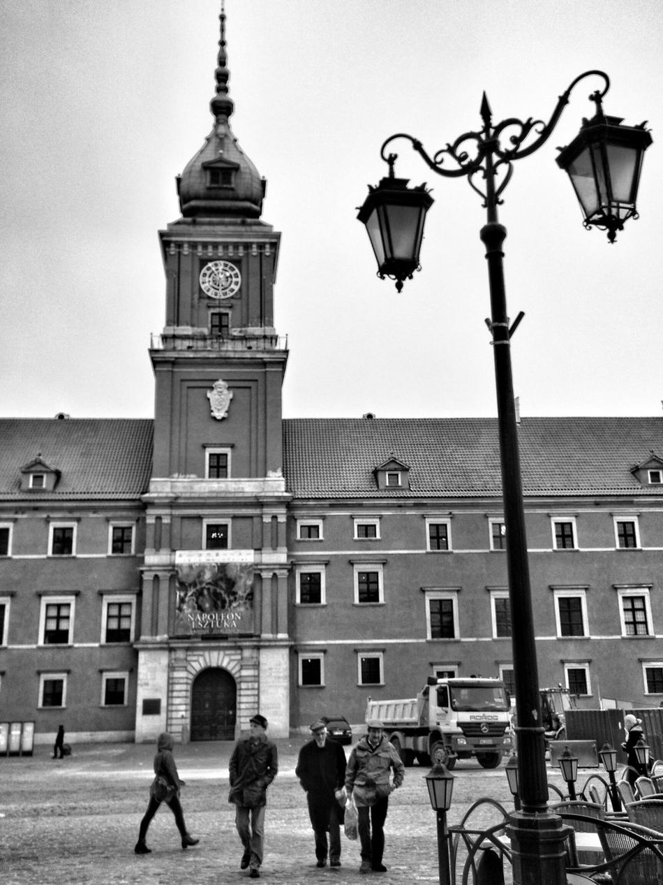 Architecture Street Light Building Exterior Built Structure Walking Road Person City Full Length Clock Tower City Life Togetherness Group Of People Lamp Post Sky Day Town Square Outdoors In Front Of Warszawa  Stare Miasto Street Photography Monochrome Photography Zamek Królewski Old People