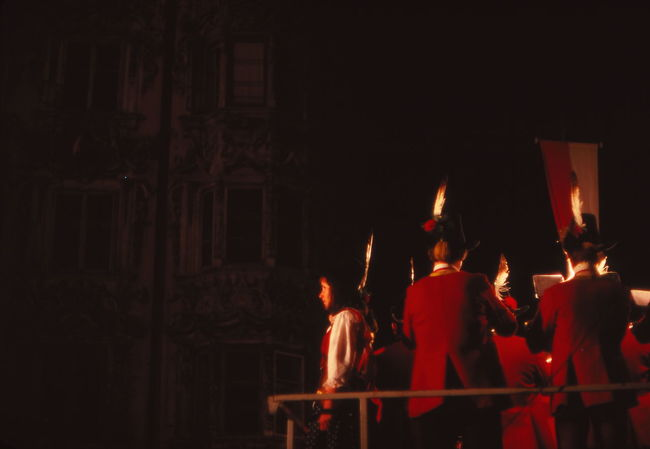1977 Austria Austrian Flag Cultures Decorated Girls And Boys Hats House Illuminated Innsbruck Night Red And White Tyrolean Band