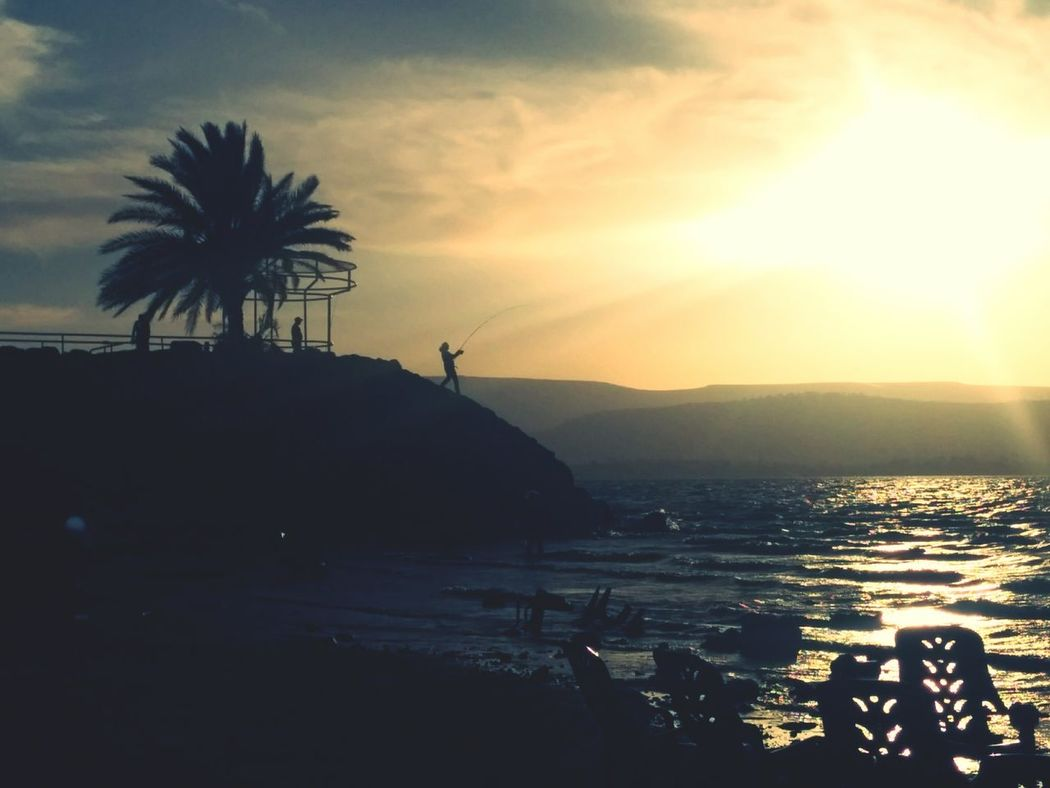 Water Sunset Outdoors Beach Landscape Nature Trip Earth Israel Sky Summer Tranquility Beauty In Nature Yom Kippur Seaofgalilie Fishing Fisherman Withthefamily Silhouette
