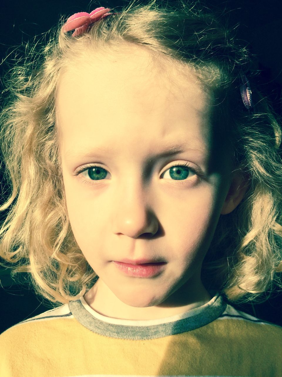 Portrait Of Little Girl With Green Eyes