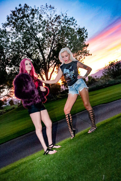 Grass Tree Two People Lawn Togetherness Girls Smiling Sky Day Sunset Tiina K Megan Red 2 Women Full Length Beautiful Woman Beauty Females Portrait Luxury Friendship Redhead Blonde Cheerful Enjoyment
