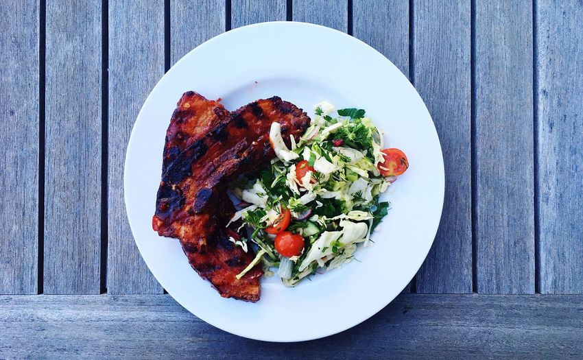 Plate Table Salad Food And Drink High Angle View Ready-to-eat Freshness Fork Indoors  Food Healthy Eating Serving Size No People Day Pork Ribs Spare Ribs BBQ Barbecue