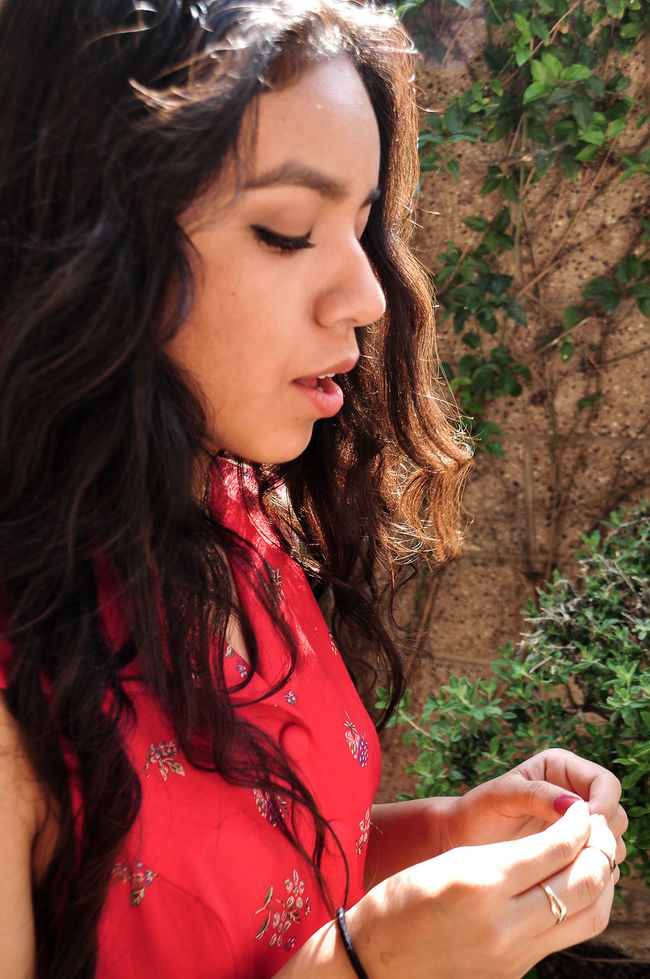 Love this one. My old pics. Beginning of my photography journey.. Red Dress Girl Lips Waveyhair Wall Hands Young Girl Side View Light Skin Red Nails Ring