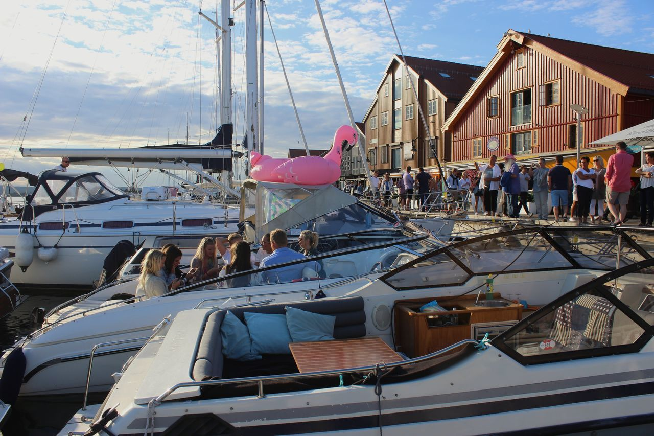 Large Group Of People Outdoors Day Crowd Summer Norway Harbourside Tønsberg, Norway People Travel Destinations Sunlight City Architecture Yacht Sea Harbor Water Vacations