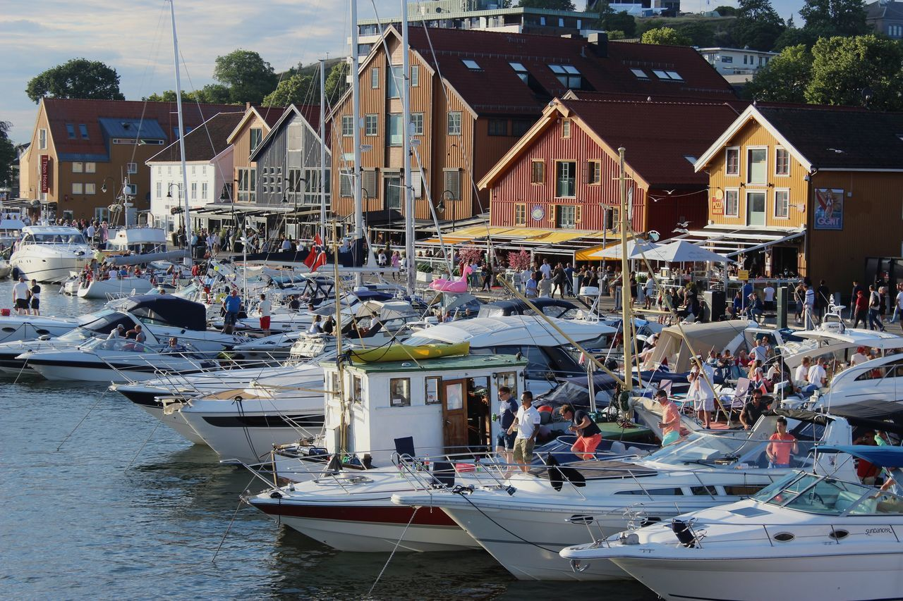 Tønsberg, Norway Harbourside Norway Summer People Travel Destinations Sunlight City Architecture Building Exterior Day Outdoors Sailboat Crowd Harbor Boat Vacations Water Sky Architecture