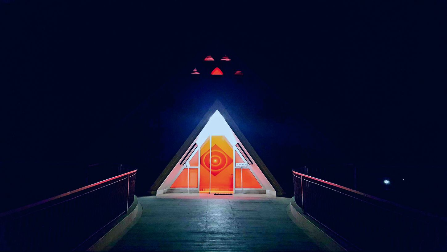 Om Shanti Retreat Centre. India Night History Illuminated Red Travel Destinations No People Outdoors Star - Space Architecture Astronomy Astrology Sign Galaxy Clock Face Note5❤