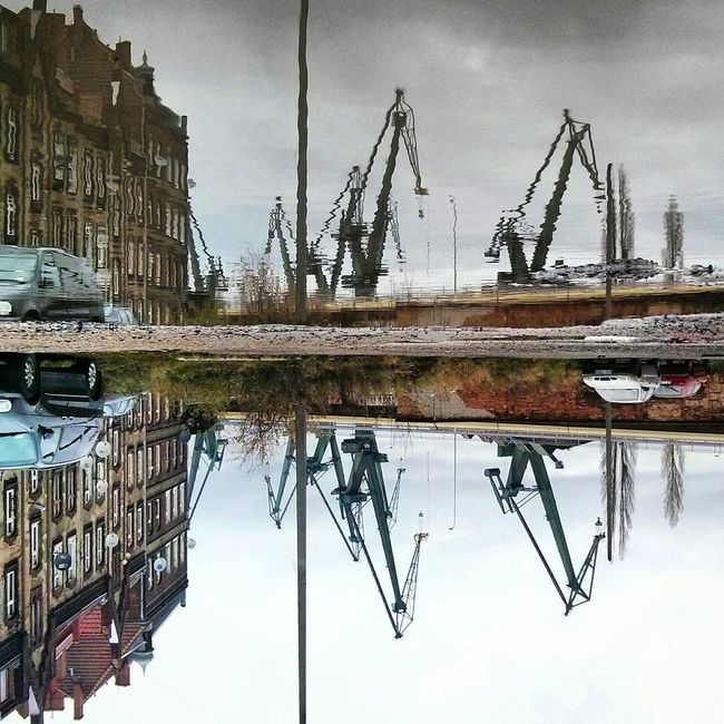 Mirror Mirrored Mirror Picture Crane Cranes Cranes And Construction Gdansk Gdansk_official