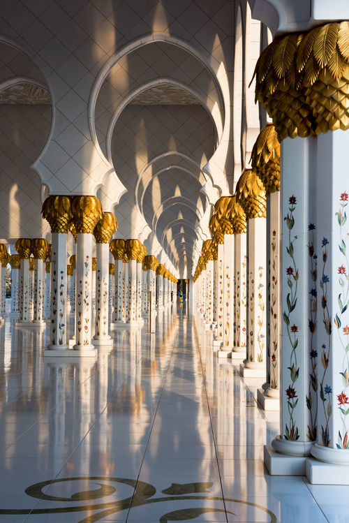 Sheikh Zayed White Mosque in Abu Dhabi, UAE Abu Dhabi Architecture Colonnade Decoration Emirates Gallery Grand Light Light And Shadow Mosque Outdoors Place Of Worship Religion Shadows Shadows & Lights Sheikh Zayed Grand Mosque Sheikh Zayed Mosque Travel Travel Destinations Travel Photography UAE White