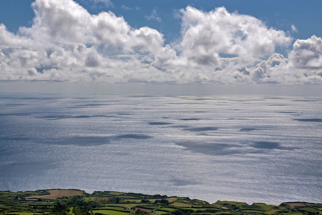 Horizon from Sete Cidades , Sao Miguel Azores Horizon Over Water Skyporn Clouds And Sky Shoreline Cloud Shadows Beauty In Nature No People Nature_collection Nature Blue Sky Sunny Day Bright View Viewpoint Distant View Horizon View Fresh On Market June 2016