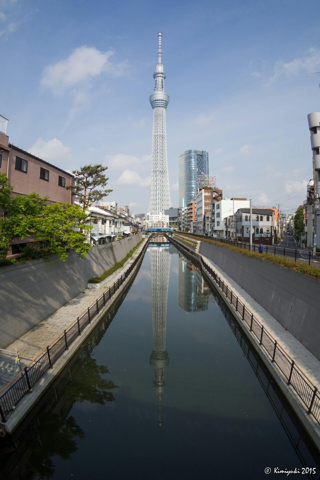 亀戸天神社の帰りにちょっと寄り道 鉄塔♡Love Reflection Tokyoskytree Skytree Olympus Olympus Om-d E-m10 Landmark Architecture Tower Fisheye