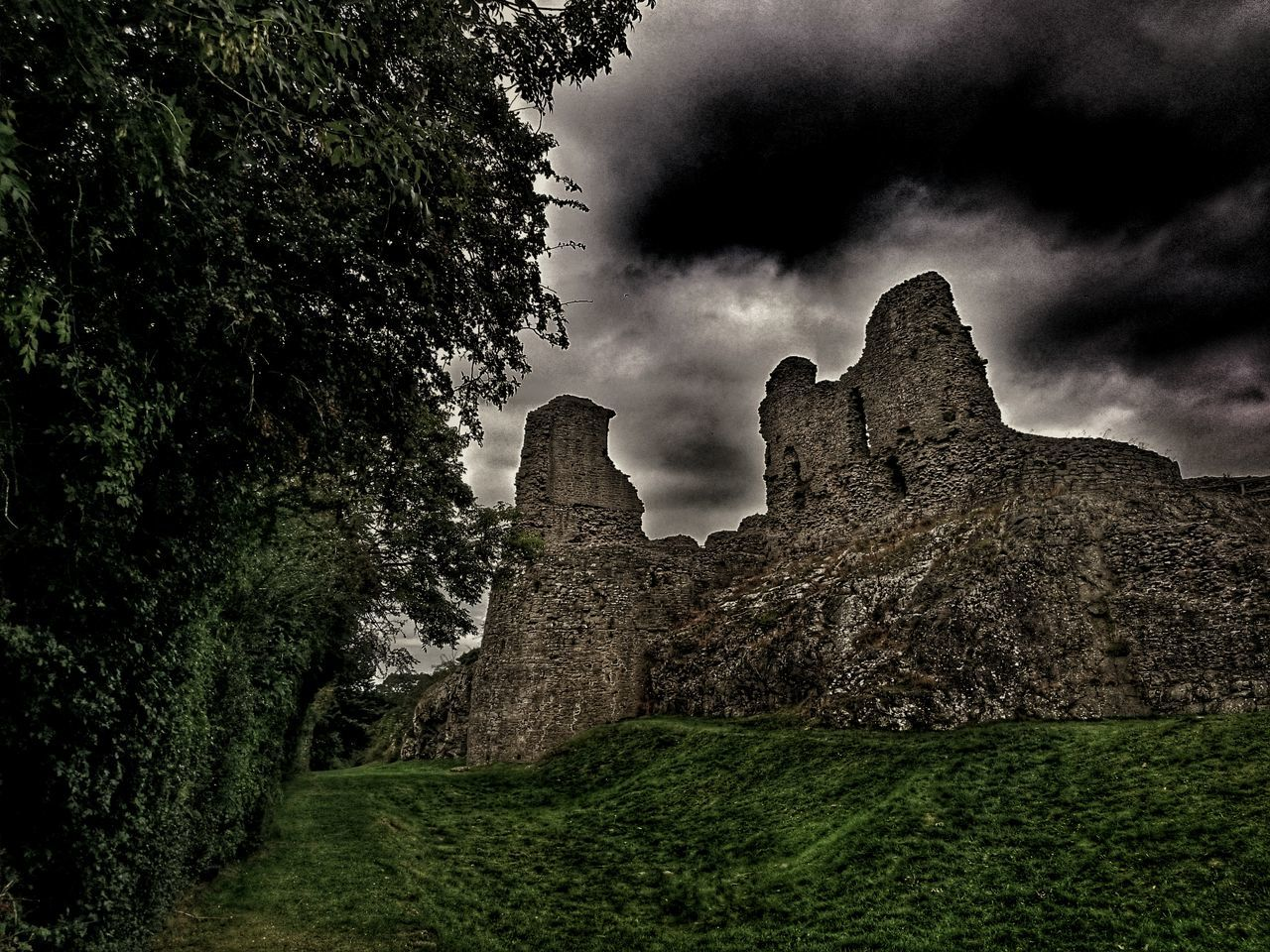 grass, cloud - sky, history, day, nature, no people, sky, old ruin, tree, outdoors, beauty in nature, ancient civilization