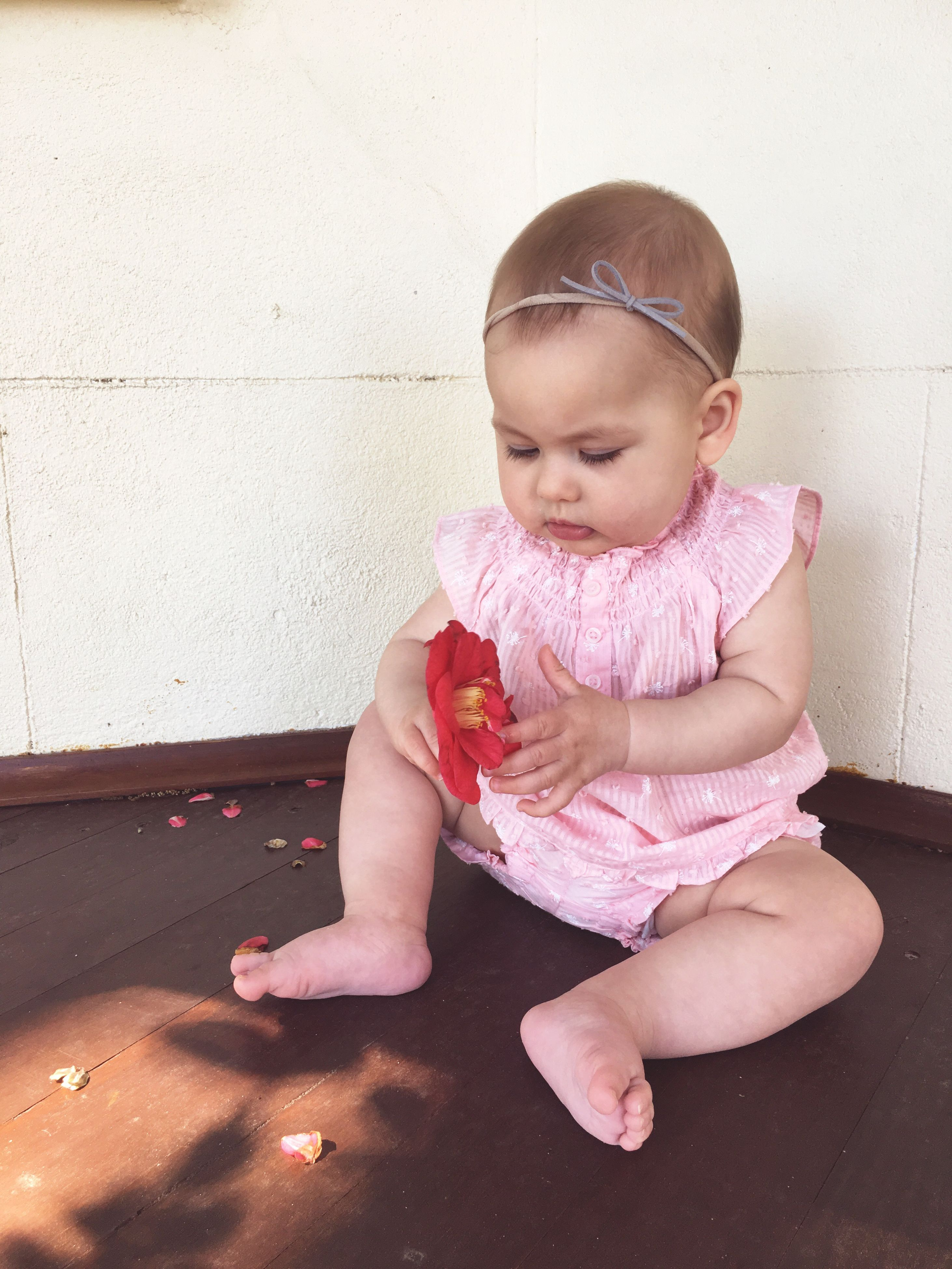 childhood, cute, innocence, full length, elementary age, toddler, babyhood, lifestyles, girls, baby girls, leisure activity, preschool age, baby, baby clothing, front view, portrait, beginnings, person, casual clothing, looking at camera, holding, new life, in front of, day, unknown gender