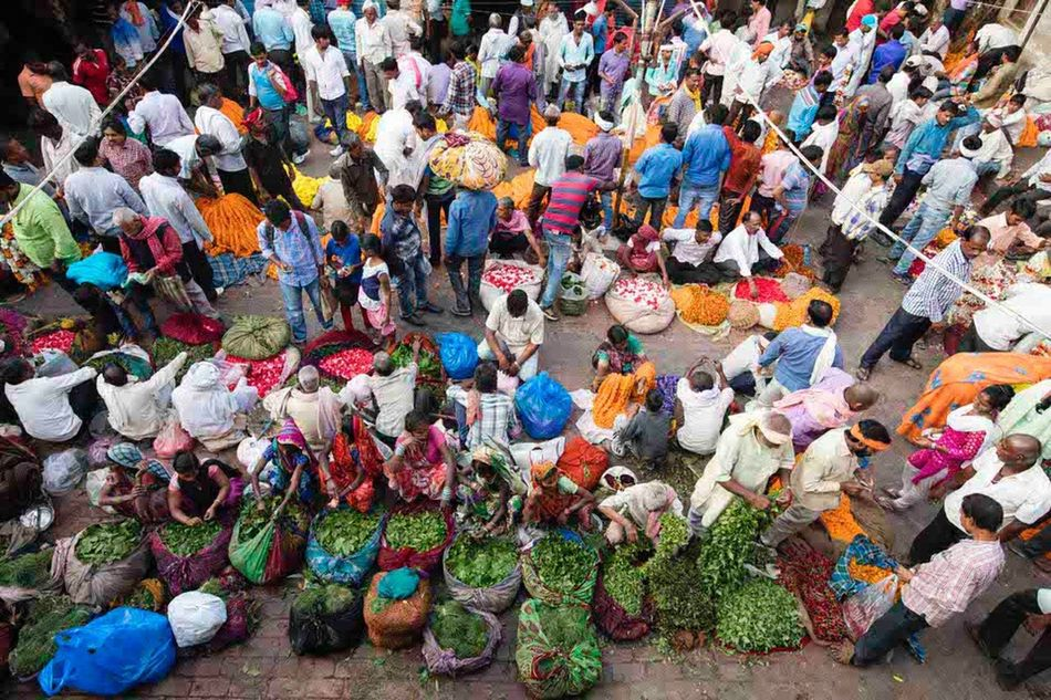 Large Group Of People Multi Colored Crowd Day Outdoors Adult People Going To Market India