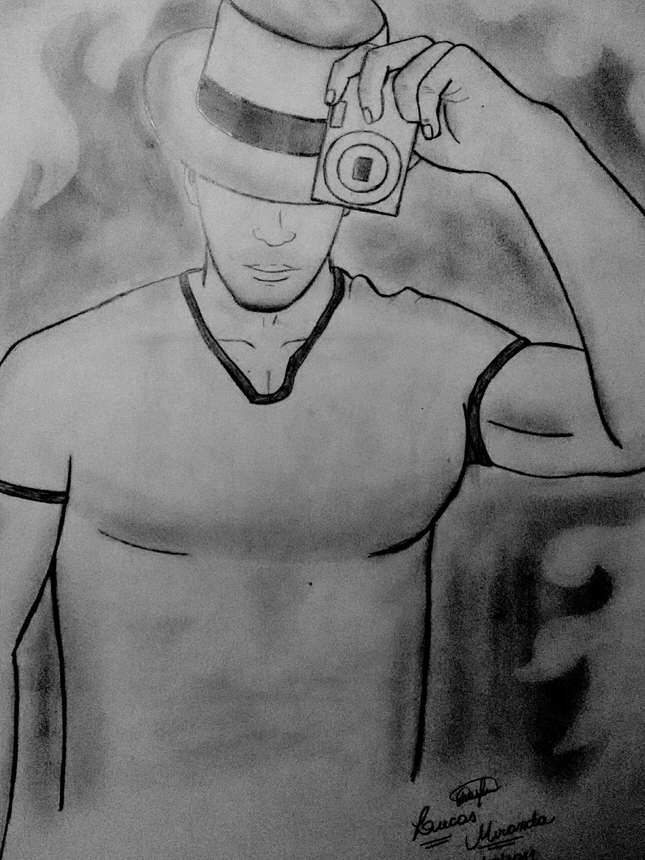 Drawing Graphite Dibujo Art LM_colection Sexy Boy Selfie Artistic Black & White Desenho
