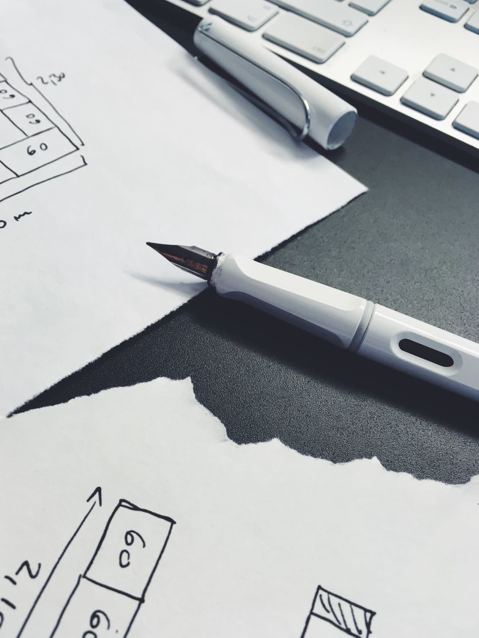 Paper Pen Indoors  No People Portable Information Device Technology Writing Instrument Close-up Day Still Life Monochrome Monochrome Photography White Black And White Desk Desk From Above Detail No Person