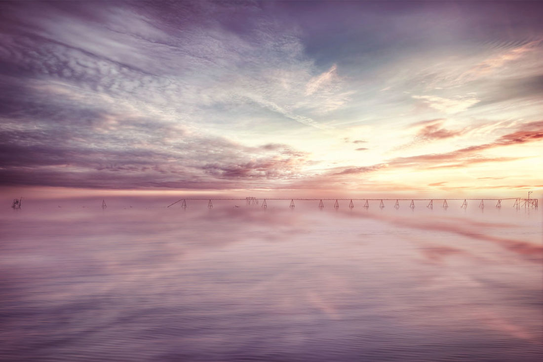 Fortune Colors Beauty In Nature Bridge Cloud - Sky Cold Temperature Colorful Day Horizon Over Water Idyllic Nature No People Outdoors Photography Reflection Scenics Sea Sky Skyporn Sunset Tranquil Scene Tranquility Water Waterfront Winter