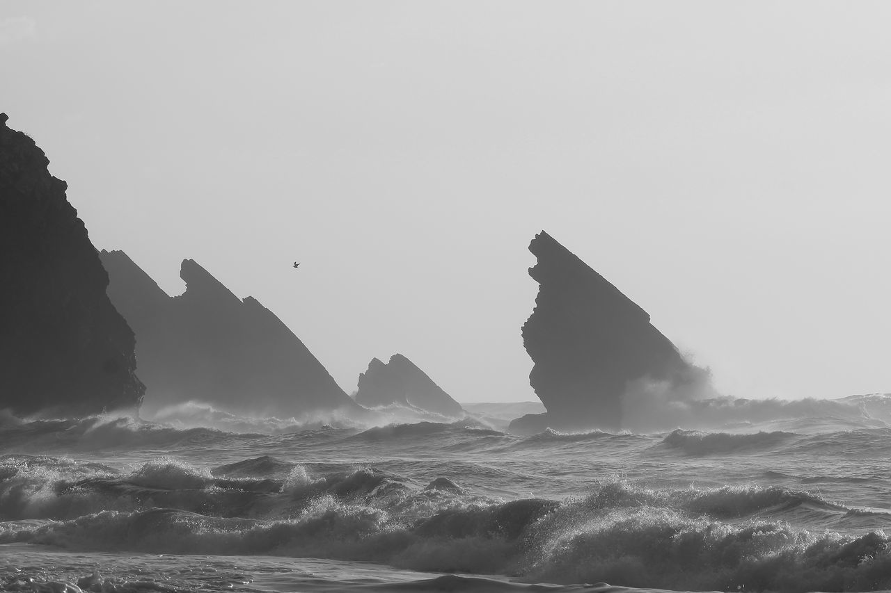 Water Beauty In Nature Outdoors Nature Animal Wildlife Wave No People Day Mountain Sky Landscape Landscapes Portugal Adraga Beach Praia Da Adraga Adraga Motion Nature Black And White Archival Power In Nature Monochrome