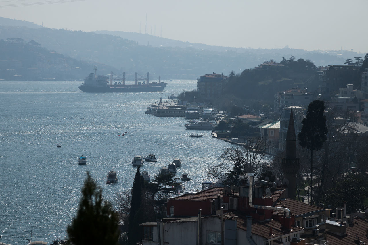 view of the Bosphorus strait Bebek Boats Bosphorus Buildings City City Life Cityscape Coast Hills Istanbul Nature Nature_collection No People Ship Shore Strait Turkey Water