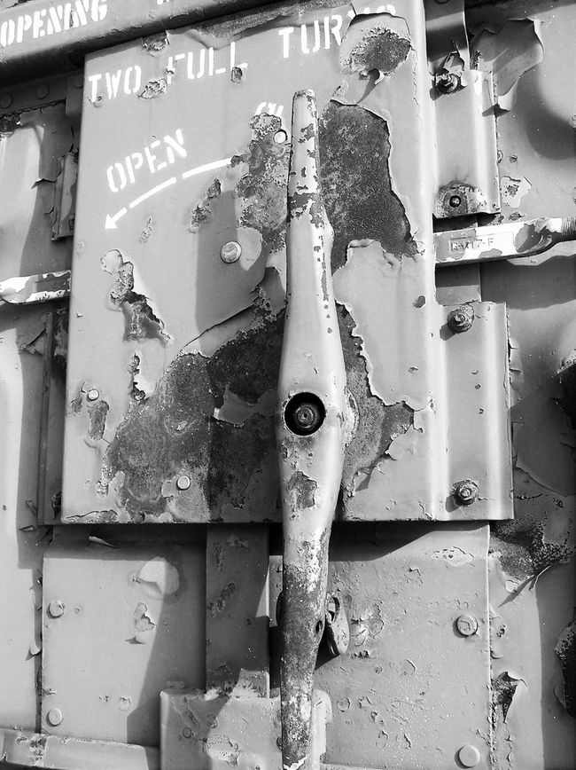 Box Car Chipped Paint Close-up Corrosion Faded Paint Handle Latch No People Open Outdoors Paint Flaking Railroad Security Rolling Stock Rust Steel Turn